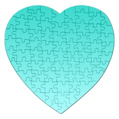 Turquoise To Celeste Gradient Jigsaw Puzzle (Heart)