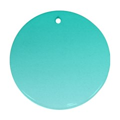 Turquoise To Celeste Gradient Round Ornament (Two Sides)