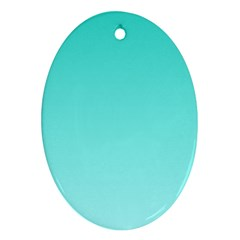 Turquoise To Celeste Gradient Oval Ornament (two Sides)