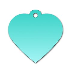 Turquoise To Celeste Gradient Dog Tag Heart (One Sided)