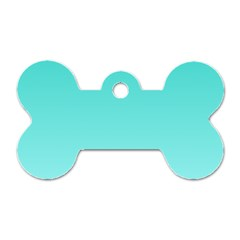 Turquoise To Celeste Gradient Dog Tag Bone (two Sided)