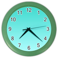 Turquoise To Celeste Gradient Wall Clock (color)
