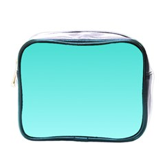 Turquoise To Celeste Gradient Mini Travel Toiletry Bag (one Side)
