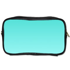 Turquoise To Celeste Gradient Travel Toiletry Bag (Two Sides)