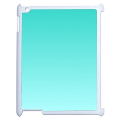 Turquoise To Celeste Gradient Apple iPad 2 Case (White)