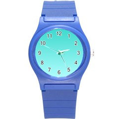 Turquoise To Celeste Gradient Plastic Sport Watch (small)