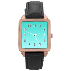 Turquoise To Celeste Gradient Rose Gold Leather Watch