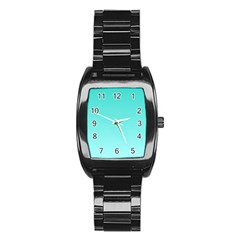 Turquoise To Celeste Gradient Men s Stainless Steel Barrel Analog Watch