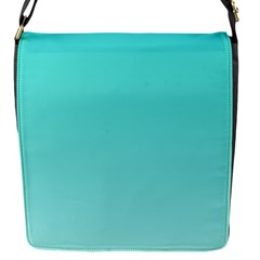Turquoise To Celeste Gradient Flap closure messenger bag (Small)