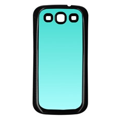 Turquoise To Celeste Gradient Samsung Galaxy S3 Back Case (Black)