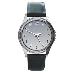 Roman Silver To Gainsboro Gradient Round Metal Watch (silver Rim)