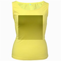 Roman Silver To Gainsboro Gradient Womens  Tank Top (Yellow)