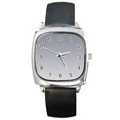 Roman Silver To Gainsboro Gradient Square Leather Watch