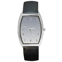 Roman Silver To Gainsboro Gradient Tonneau Leather Watch