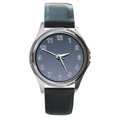Charcoal To Cool Gray Gradient Round Metal Watch (silver Rim)