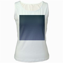 Charcoal To Cool Gray Gradient Womens  Tank Top (White)