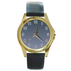 Charcoal To Cool Gray Gradient Round Metal Watch (gold Rim)