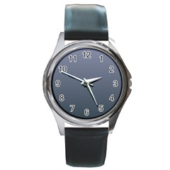 Cool Gray To Charcoal Gradient Round Metal Watch (Silver Rim)