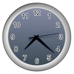 Cool Gray To Charcoal Gradient Wall Clock (Silver)
