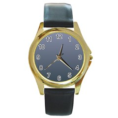 Cool Gray To Charcoal Gradient Round Metal Watch (Gold Rim)