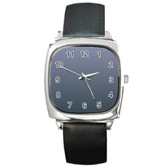 Cool Gray To Charcoal Gradient Square Leather Watch
