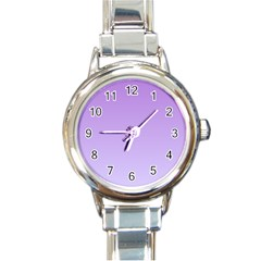 Lavender To Pale Lavender Gradient Round Italian Charm Watch