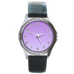 Lavender To Pale Lavender Gradient Round Metal Watch (silver Rim)