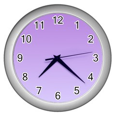 Lavender To Pale Lavender Gradient Wall Clock (Silver)