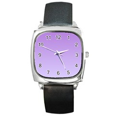 Lavender To Pale Lavender Gradient Square Leather Watch