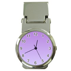 Lavender To Pale Lavender Gradient Money Clip with Watch