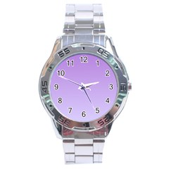 Lavender To Pale Lavender Gradient Stainless Steel Watch (Men s)