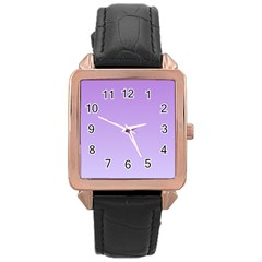 Lavender To Pale Lavender Gradient Rose Gold Leather Watch
