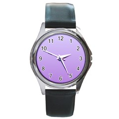Pale Lavender To Lavender Gradient Round Metal Watch (Silver Rim)