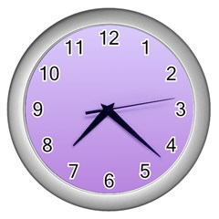 Pale Lavender To Lavender Gradient Wall Clock (Silver)
