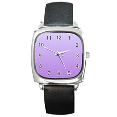 Pale Lavender To Lavender Gradient Square Leather Watch