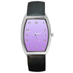Pale Lavender To Lavender Gradient Tonneau Leather Watch