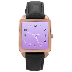 Pale Lavender To Lavender Gradient Rose Gold Leather Watch