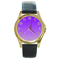 Violet To Wisteria Gradient Round Metal Watch (gold Rim)