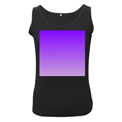 Violet To Wisteria Gradient Womens  Tank Top (Black)