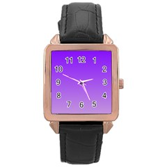 Violet To Wisteria Gradient Rose Gold Leather Watch