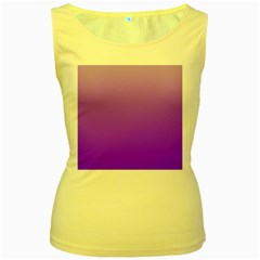 Wisteria To Violet Gradient Womens  Tank Top (Yellow)