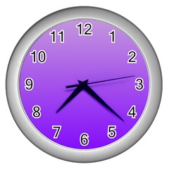 Wisteria To Violet Gradient Wall Clock (silver)