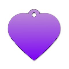 Wisteria To Violet Gradient Dog Tag Heart (Two Sided)