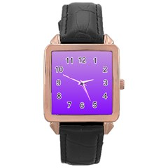 Wisteria To Violet Gradient Rose Gold Leather Watch