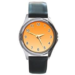 Orange To Peach Gradient Round Metal Watch (silver Rim)