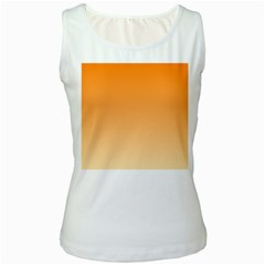 Orange To Peach Gradient Womens  Tank Top (White)