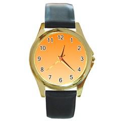 Orange To Peach Gradient Round Metal Watch (Gold Rim)