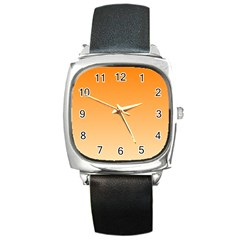 Orange To Peach Gradient Square Leather Watch