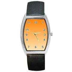 Orange To Peach Gradient Tonneau Leather Watch