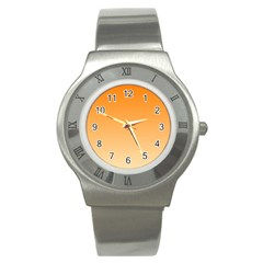 Orange To Peach Gradient Stainless Steel Watch (unisex)